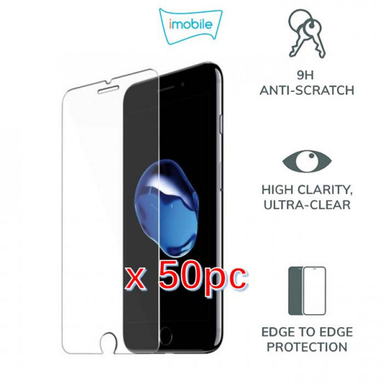 (4113) For iPhone 6 Plus 6S Plus 7 Plus 8 Plus Tempered Glass [Pack of 50]